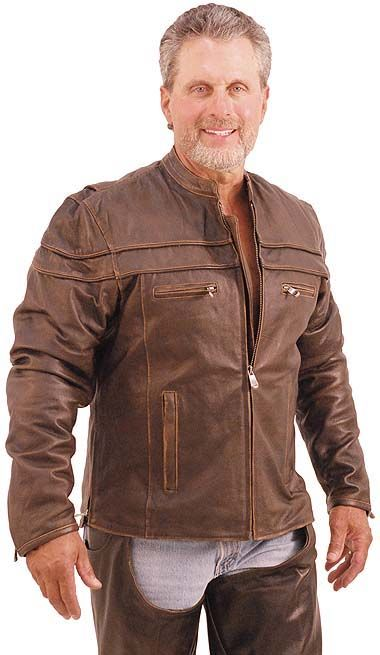 Antiqued Brown Leather Motorcycle Jacket - Scooter Style with