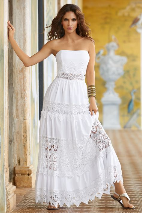 Trending Fashion | Women's White Poplin Lace Maxi Dress by Boston Proper.
