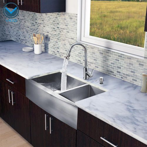 Menards Kitchen Sinks : -in-One Farmhouse Double Bowl Kitchen Sink and Faucet Set at Menards ...