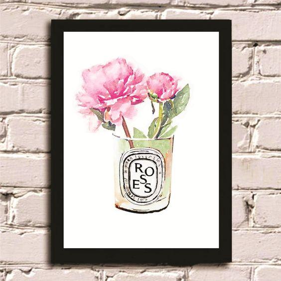 Poster com moldura Flores diptyque #