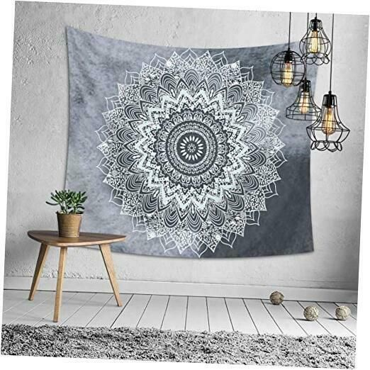 Oathene Bless Indian Hippie Bohemian Psychedelic Peacock Mandala Gray Tapestry W In 2020 Tapestry Grey Tapestry Carpet Decoration