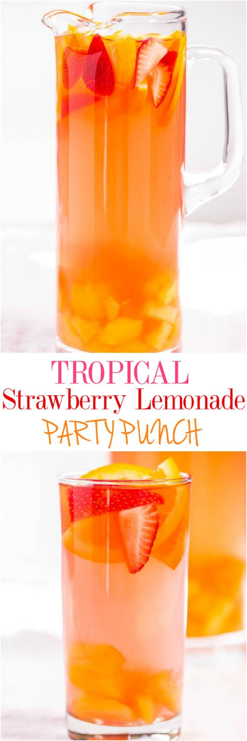 Tropical Strawberry Lemonade Party Punch Recipe via Averie Cooks - Sweet and citrusy with a tropical vibe! So fast and easy!! Punch and sangria all in one with loads of fruit!! (can be made virgin) The BEST Easy Non-Alcoholic Drinks Recipes - Creative Mocktails and Family Friendly, Alcohol-Free, Big Batch Party Beverages for a Crowd! #mocktails #virgindrinks #alcoholfreedrinks #nonalcoholicdrinks #familyfriendlydrinks #partypunch #partydrinks #newyearseve #partydrinkrecipes