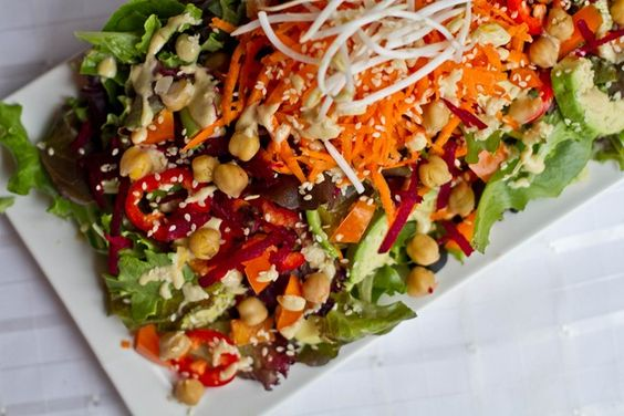 Club Med Salad with Lemon Tahini Dressing