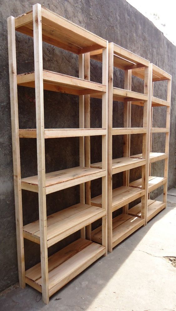 Estanterias a medida de madera rustica 1 estante 60x32 - Estanterias modulares madera ...
