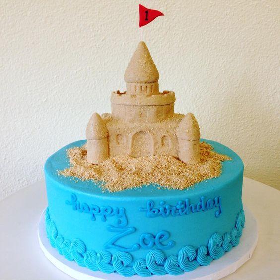 Sandcastle 1st Birthday Cake by Stuffed Cakes StuffedCakes.com Custom Cakes | Seattle, WA, USA