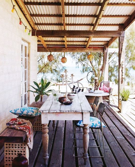 "Italian Canvas Tent Veranda Decorated In Different Styles: ""Bench"" Made With Bricks Scaffolding. Boho Decor Patio"
