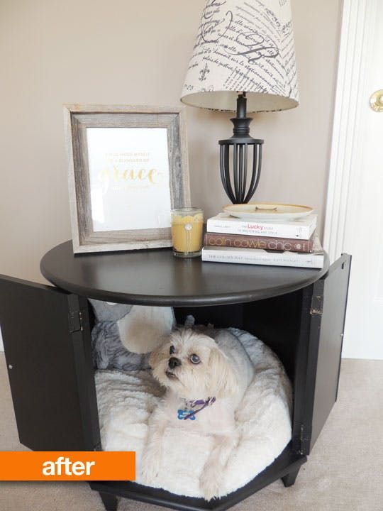 Before After Merrill S Side Table Pet Bed With Images Dog Bed Furniture Pet Bed Dog Bed