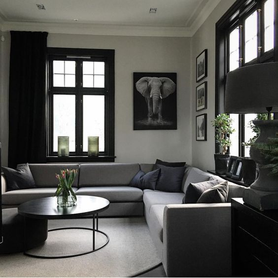 Achromatic Interior Colour Scheme Unique Living Room Furniture Black Living Room Interior
