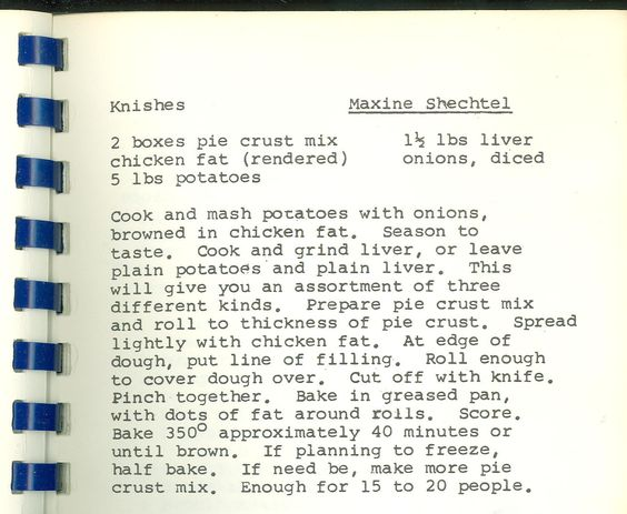 """Recipe for Knishes. From """"A Pinch of This and a Dash of That"""" (Montgomery County Jewish Community Center Sisterhood, c. 1955)"""