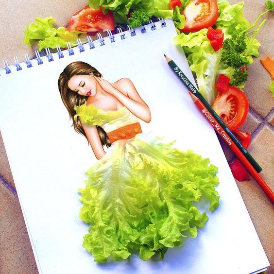Lechuga, tomate. Colores y vegetales de ensalada .  Ensalada's dress color?