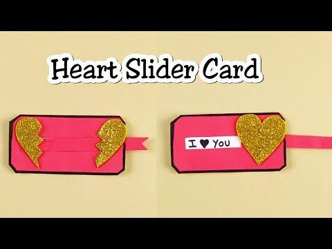 Heart Slider Card Mothers Day Card Love Slider Card Diy Paper Craft Easy Youtube Slider Cards Paper Crafts Diy Diy Cards