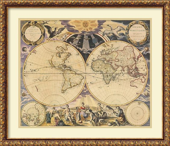 New World Map, 1676 by Pieter Goos Framed Wall Art