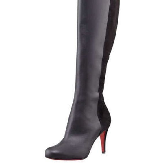 christian louboutin round-toe leather boots