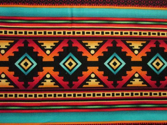 Native American Bird Teal Traditonal Border Print Cotton