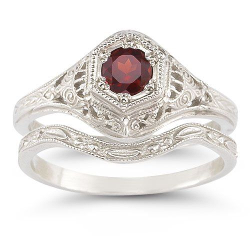 Antique-Style Ruby Wedding Ring Set « Holiday Adds