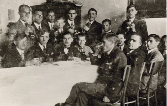 Stepan Bandera, fourth from the left, in 1928
