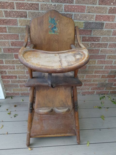 Antique Wooden Baby High Chair Converts Into Play Toy Chair For Sale Online  by Antiquescove, $130.00 | High Chairs& Rattles. - Antique Wooden Baby High Chair Converts Into Play Toy Chair For