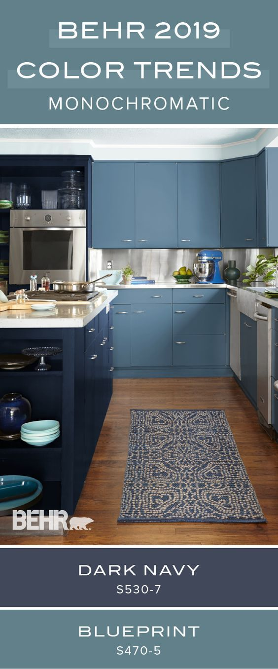 Behr Paint In Blueprint And Dark Navy Help To Transform This Kitchen With A Welcoming And Monochrom Kitchen Colors Kitchen Colour Schemes Trendy Kitchen Colors