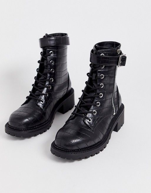Asos Design Wide Fit Anya Hardware Lace Up Boots In Black Croc Asos Trending Boots Lace Up Ankle Boots Womens Biker Boots