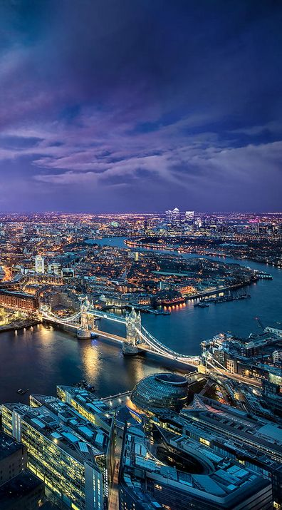 View of the Thames and Tower Bridge from the Shard in London. Silent Discos are happening throughout the coming months - the best way to see London by night!