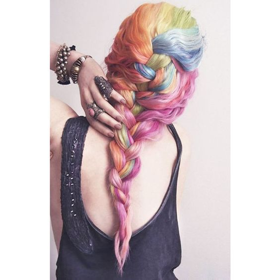 Rainbow Hair ❤ liked on Polyvore featuring hair, hair styles, backgrounds and hairstyles