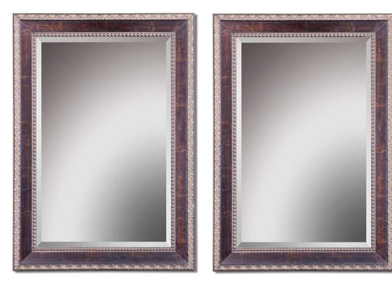 Details About Set 2 Beaded Edge Wall Mirror Large Beveled Rectangle Bathroom Tuscan Style New