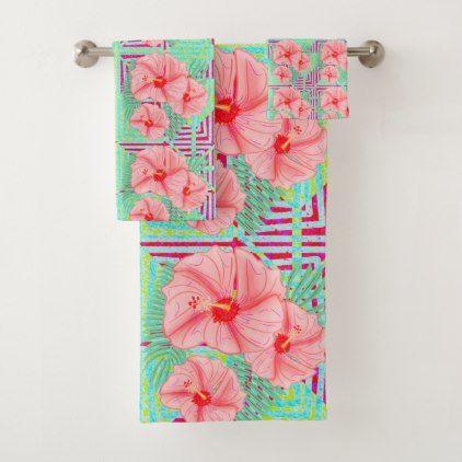 Peach Mint And Purple Aztec Hibiscus Bath Towel Set Towel Set
