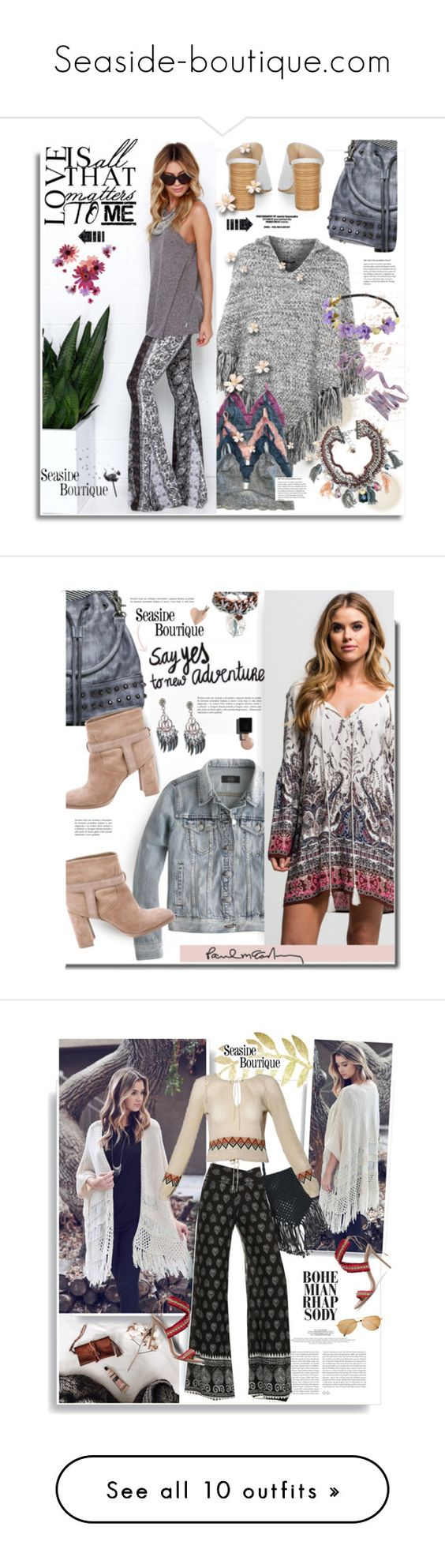 """Seaside-boutique.com"" by hamaly ❤ liked on Polyvore featuring boho, bohochic, vest, seasideboutique, Topshop, Monsoon, Zodaca, ootd, bag and pants"