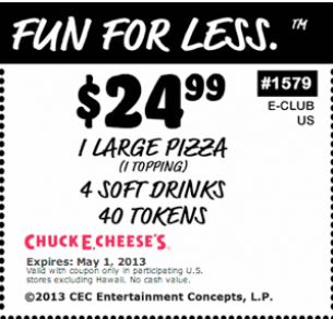 Chuck e cheese birthday party coupons