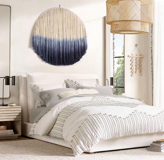 Dip Dyed Fringe Wall Hanging In 2020 Upholstered Beds Bed Interior Upholster