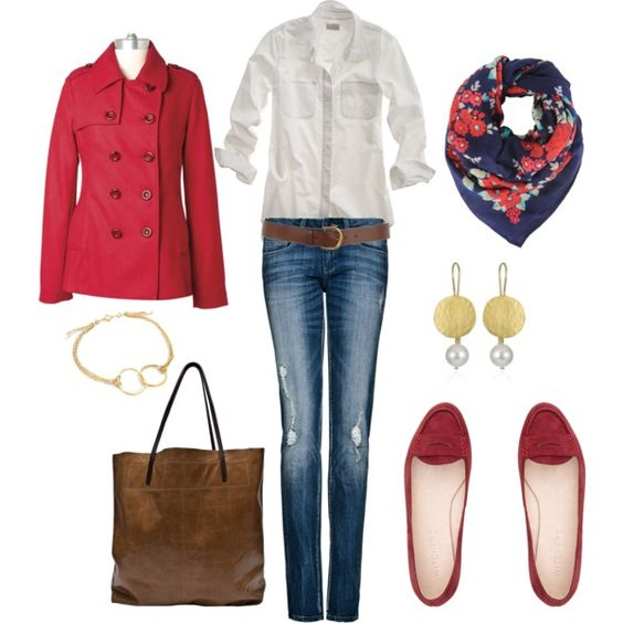 """""""Floral Border Scarf"""" makes this a great outfit to brighten up a cold winters day ."""