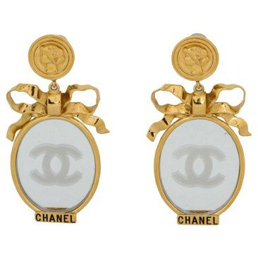 Check out this item at One Kings Lane! Chanel Book-Piece Mirror Dangle Earrings