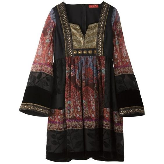 René Derhy Embellished Print Chiffon Tunic, Red, M (£58) ❤ liked on Polyvore featuring tops, tunics, dresses, shirts, women's tops, brown shirt, red top, red chiffon top, red tunic and print tunic
