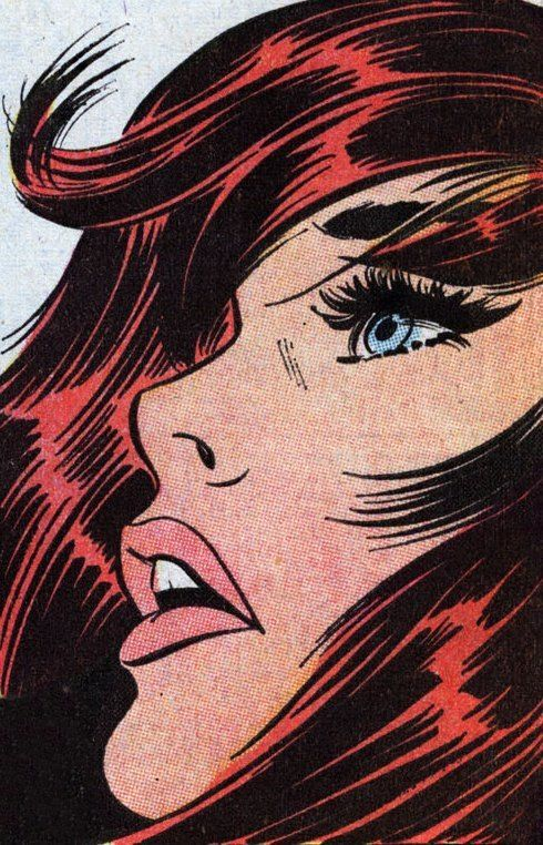 Comic type illustration of red-haired woman. I love this style.