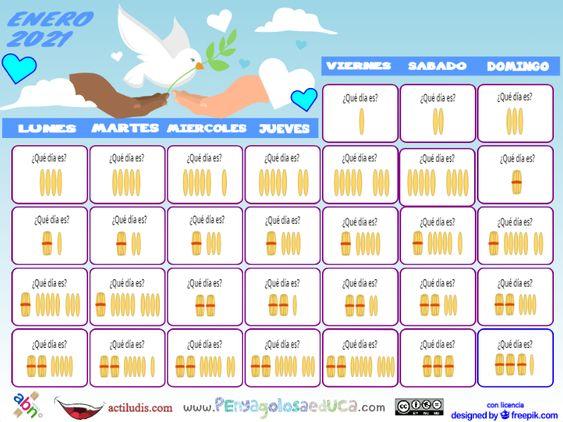 Calendario palillos infantil ABN – Enero 2021