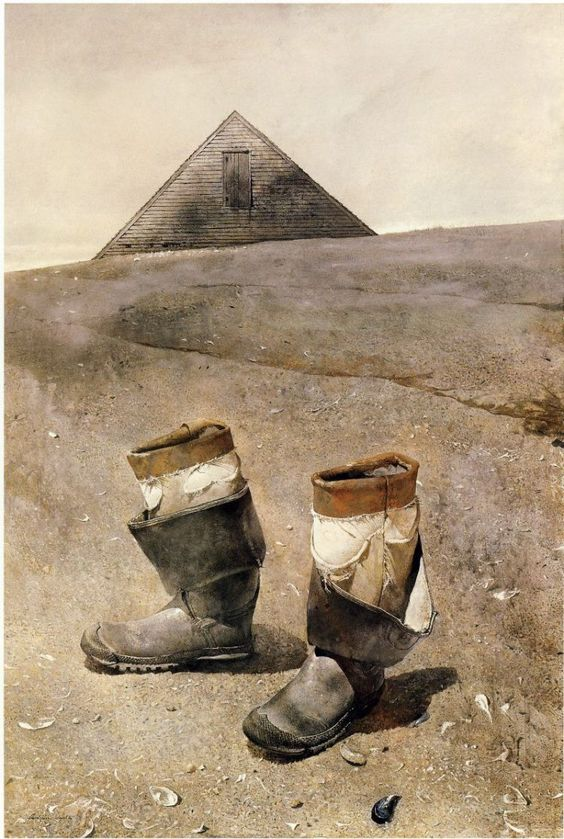 Andrew Wyeth PURE TEXTURE; AT FIRST YOU SEE GEOMETRY, THEN THE SCENE RESOLVES....AMAZING PERSPECTIVE