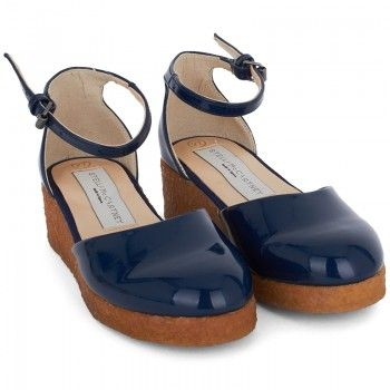 Stella McCartney Kids Girls Navy Patent Wedge Sandals | AlexandAlexa