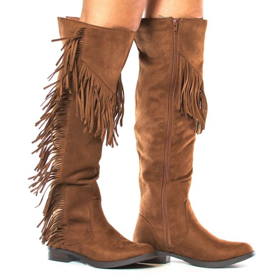 Be a trend setter and make heads turn with these fringe knee high western boots, featuring a round toe, contrast stitching, fringe, a side zipper for easy wear and closure, a slightly padded insole fo