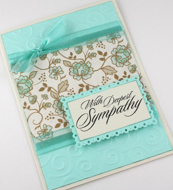 Sympathy Card - Handmade Card - Condolence Card - Aqua and White