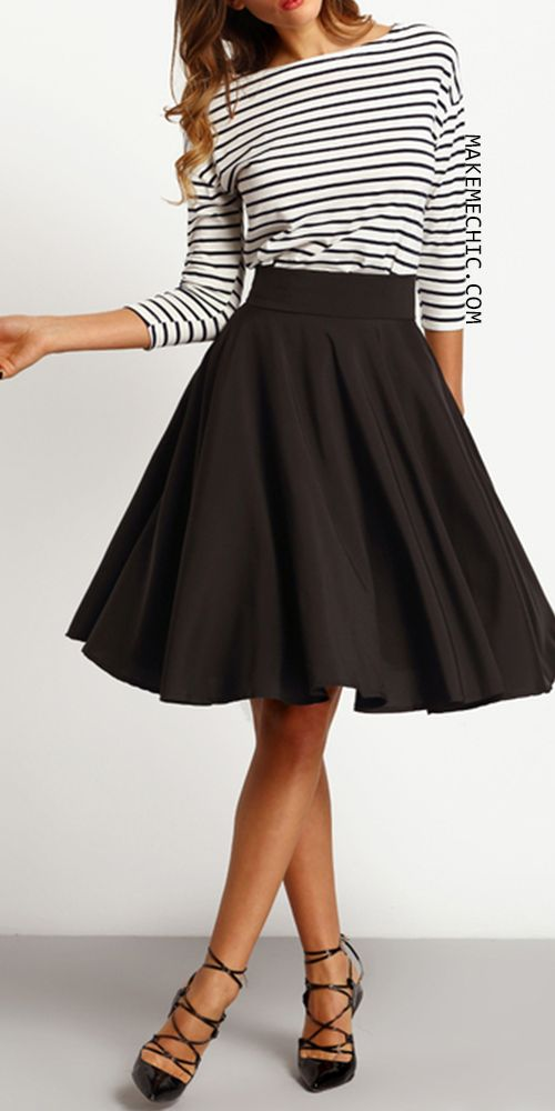 Black High Waist Pleated Skirt (Fall Top Casual)