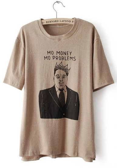 Khaki Short Sleeve Character Letters Print T-Shirt #SheInside #SheInsidewishlist