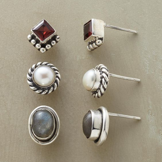 """POSTHASTE EARRING TRIO S/3--This gemstone and silver stud earrings set brings together red garnet, luminous pearl and shimmering labradorite, captured in sterling in three pairs of posts for quick, easy style. Exclusive. Set of 3. 5/16"""" to 3/8""""W."""
