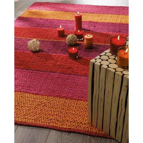 tapis bayad re tress en coton rouge orang hacienda. Black Bedroom Furniture Sets. Home Design Ideas