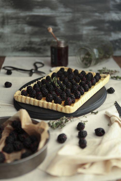 // blackberry goat cheese tart