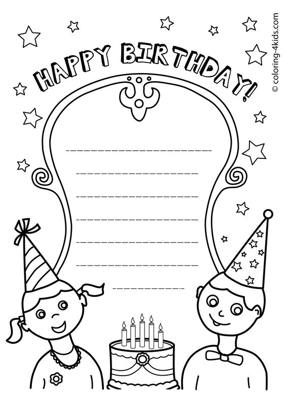 Coloring pages for kids, Coloring pages and Happy birthday