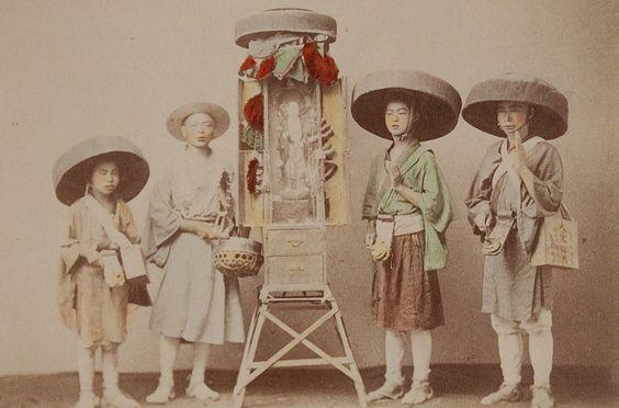 Title: Pilgrim Priests with Portable Shrine  Artist: Kusakabe Kimbei  Artist Bio: Japanese, 1841 - 1934  Creation Date: c. 1890s  Process: albumen print