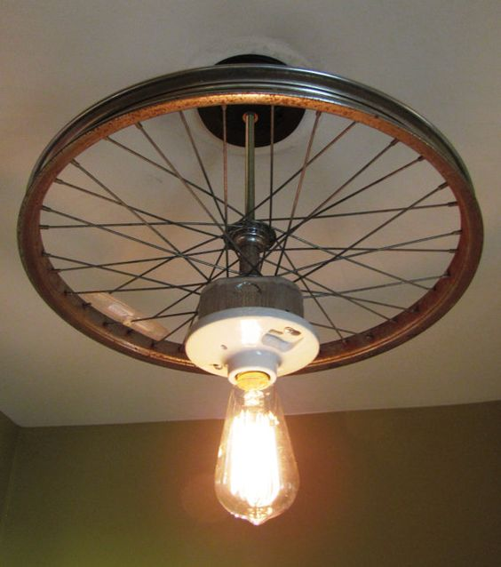 Hanging Ceiling Light Made From Repurposed Bike Tire Rim