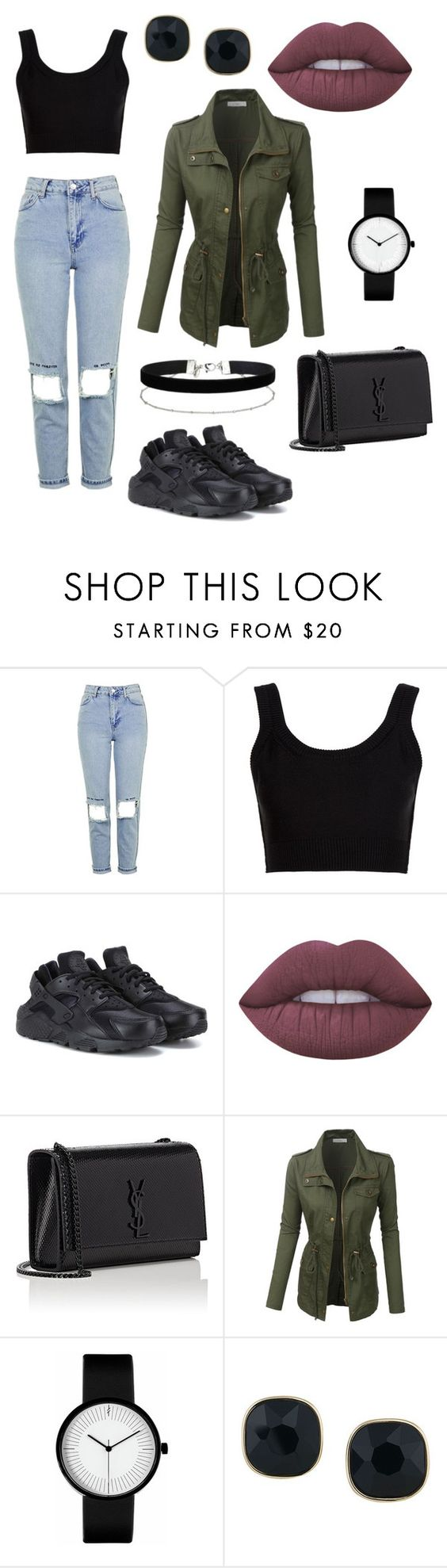 """""""❌"""" by elinevanhoutx ❤ liked on Polyvore featuring Topshop, Calvin Klein Collection, NIKE, Lime Crime, Yves Saint Laurent, LE3NO, ABS by Allen Schwartz and Miss Selfridge"""