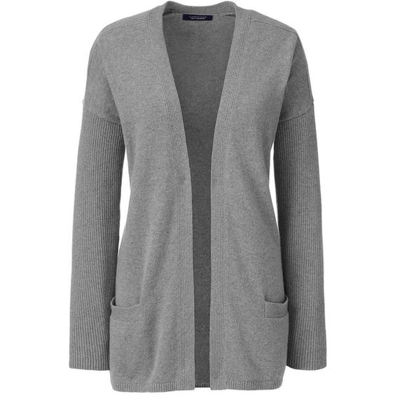 Lands' End Women's Cashmere Rib Cardigan Sweater ($195) ❤ liked on Polyvore featuring tops, grey, lands end tops, long tops, grey top, double layer top and lands' end