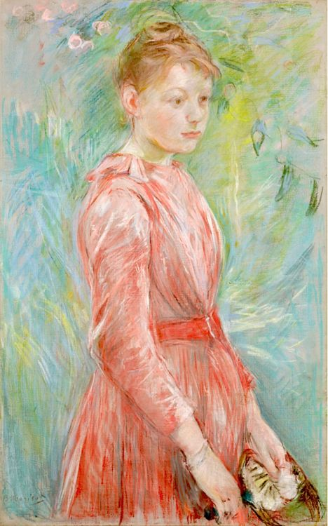 Girl in Rose Dress - 1888 -  Berthe Morisot was a painter and a member of the circle of painters in Paris who became known as the Impressionists:
